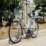 Bici eléctrica de la ciudad de 26 pulgadas con Shimano 6 velocidades
