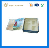 Rectángulo de empaquetado pila de discos plano de papel de lujo negro del plegamiento de la alta calidad (caja de cartón hecha a mano)