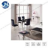 Louise moderna Mármol Negro o Negro Tabla Templado Vidrio de café con piernas de acero inoxidable estilo francés 120 * 70 * 41cm