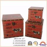 A caixa de presente de madeira da caixa de jóia do tronco do armazenamento da cópia do teste padrão dos animais de exploração agrícola para a decoração