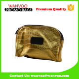 Hotsell PU Genuine Leather Crocodile Gold Cosmetic Handbag Lady Girl Bag para festa