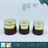 Cilindro Red Glass Cosmetic Bottles e Cream Jars