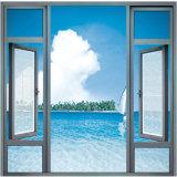 Puder-Beschichtung-hölzernes Farben-Profil-Rahmen-Aluminiumflügelfenster-Glasfenster mit Bogen-örtlich festgelegter Oberseite