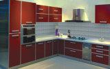 Gabinete de cozinha modular da laca lustrosa elevada da cor vermelha