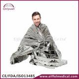 医学のレスキュー屋外の救急処置暖かい銀製の緊急毛布