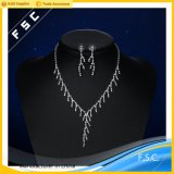 Ювелирные изделия просто конструкции способа установили с кристаллический ожерельем и серьгами
