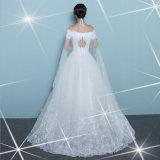 ショール(夢100045)が付いている優雅なレースのサテンの肩の婚礼衣裳