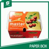 Caixa lustrosa da cereja do papel do verniz com punho