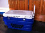 Doos van het Voedsel van de vervaardiging 90L de Draagbare Plastic Koelere met Wiel