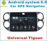 ユニバーサルTiguanのための人間の特徴をもつシステム6.0車DVD車GPSの運行の10.2インチ