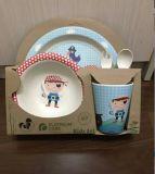 Jogo de jantar de bambu natural aprovado da fibra do GV para os miúdos (YK-KS005)