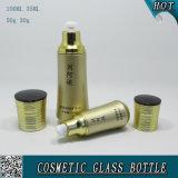 Gold farbiges kosmetisches Glasflaschen-und Glas-Sahneglas