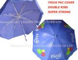 Parapluie de plage robuste de qualité dans de doubles côtes et revêtement en PVC