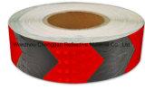 결정 격자를 가진 까맣고와 빨강 화살 PVC 사려깊은 테이프