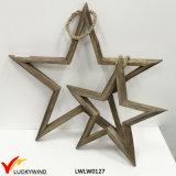 Decoración de madera colgante decorativa del hogar de la estrella de la vendimia