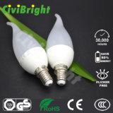 Bulbo novo elevado branco fresco da vela do diodo emissor de luz do projeto 6W do CRI