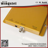 Tri amplificatore del segnale del ripetitore GSM/3G/1800MHz del segnale del telefono mobile della fascia 900/1800/2100MHz