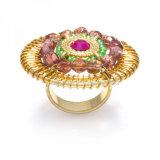 Ringen van de Vrouwen van het Huwelijk van de Parel Crytal van de Ring van de bloem de Goud Geplateerde
