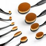 El maquillaje oval al por mayor del conjunto de cepillo del cepillo de dientes del profesional 10PCS aplica el kit con brocha
