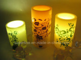 Luz sin llama con pilas romántica sin llama de la vela del brillo LED del pilar