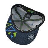 Casquillo plano del Snapback del borde del bordado caliente negro de la venta 3D