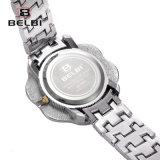 Relógio de senhoras da forma de Belbi completamente do relógio impermeável de quartzo da curvatura da jóia do aço inoxidável do seletor das estrelas