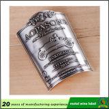 Étiquette de bouteille de vin en métal de taille standard