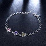 De nieuwe Kleurrijke Juwelen van de Armband van de Vorm van de Bloem van de Armband van Meisjes Zircon Platina Geplateerde