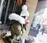 Großhandelswinterbeanie-Schutzkappen-Hut des pelz-POM POM Wollen gestrickter