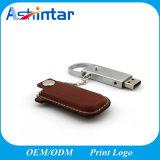USB Pendrive del Keyring del cuero del flash de la memoria del USB del metal
