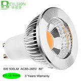 Ce a prueba de calor RoHS ETL de las bombillas del punto del aluminio LED de la MAZORCA de la lámpara de la bombilla del bulbo AC85-265V LED de 6W GU10 Dimmable LED