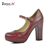 Absatz-Pumpen-Jane-Plattform-Frauen-Schuhe der Dame-Brogue Leather