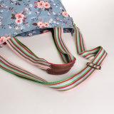 Les configurations florales imperméabilisent le sac à main bleu de toile de PVC (99192)