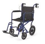 파란 수동 브레이크를 가진 경량 탐험 수송 휠체어