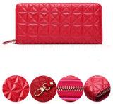 Purse Wallet de Madame de cuir véritable de mode d'OEM avec la tirette