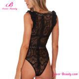 Вязание крючком женское бельё Bodysuit черноты плеча сборок Attractives