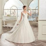 Выполненный на заказ безрукавный шнурок Tulle Appliques a - линия платье венчания 2017