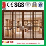 porta de vidro de deslizamento de alumínio de vidro dobro de 6mm