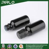 botellas de cristal negras 20ml con el tapón de tuerca evidente y negro del pisón