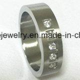 Joyas de moda anillo de dedo 3 Piedras de acero inoxidable