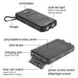 10000mAh conjuguent chargeur de panneau solaire d'USB avec la boussole portative Carabiner de côté de pouvoir de lampe-torche de 2 DEL pour l'appareil-photo d'iPad/iPhone/Android/Gopro