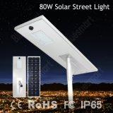 Bluesmart интегрировало уличный свет 80W СИД солнечный с панелью солнечных батарей батареи