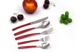 Edelstahl-Tischbesteck-Set der Farbanstrich-halbes Griff-roten Farben-5PCS