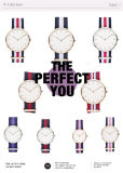 L'acier inoxydable de montre de quartz de montre de dames observe la montre-bracelet d'homme (DC-234)