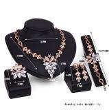 Ювелирные изделия венчания PCS ожерелья 4 браслета кольца серьги способа установленные кристаллический