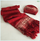 빨간 겨울 가을에게 온난한 형식에 새로운 원형 자카드 직물 아크릴 모직에 의하여 뜨개질을 한 모자 장갑 스카프 세트를 기계로 가공한