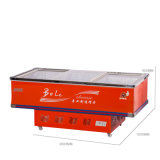 congelador liso do console do gabinete da porta 538L deslizante para o supermercado