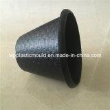 Flowerpot di plastica nero rotondo per la decorazione della casa del giardino (HP-01)