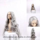 Di modo del merletto della parrucca capelli sintetici grigi ricci anteriori lungamente