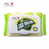 Papel higiénico con los trapos superventas de los trapos de la tapa de la fuente mojada antiséptica de China Facroty